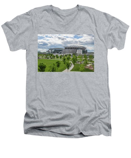 Paul Brown Stadium Color Men's V-Neck T-Shirt by Scott Meyer