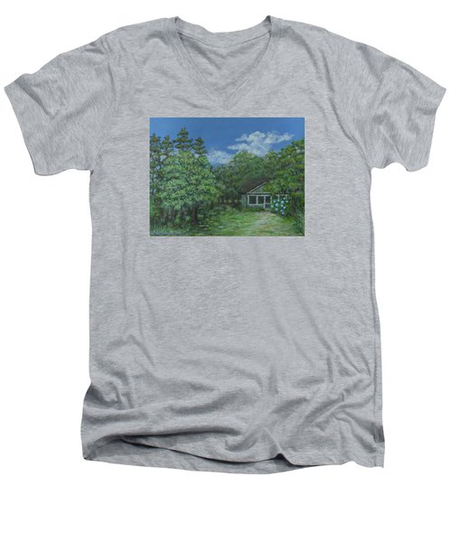 Men's V-Neck T-Shirt featuring the painting Pawleys Island Blue by Kathleen McDermott