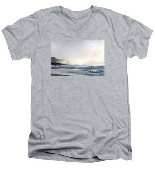 Men's V-Neck T-Shirt featuring the digital art Pawleys Island Morning Mist by Deborah Smith