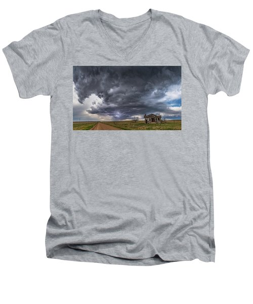 Pawnee School Storm Men's V-Neck T-Shirt by Darren White