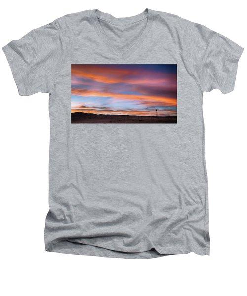 Pawnee Sunset Men's V-Neck T-Shirt by Monte Stevens