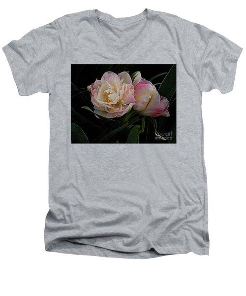 Pe0ny Tulip Duet 2 Men's V-Neck T-Shirt by Nancy Kane Chapman