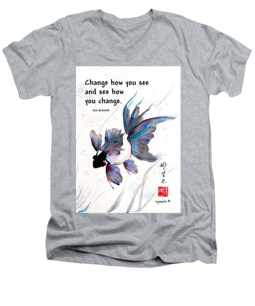 Peace In Change With Zen Proverb Men's V-Neck T-Shirt by Bill Searle