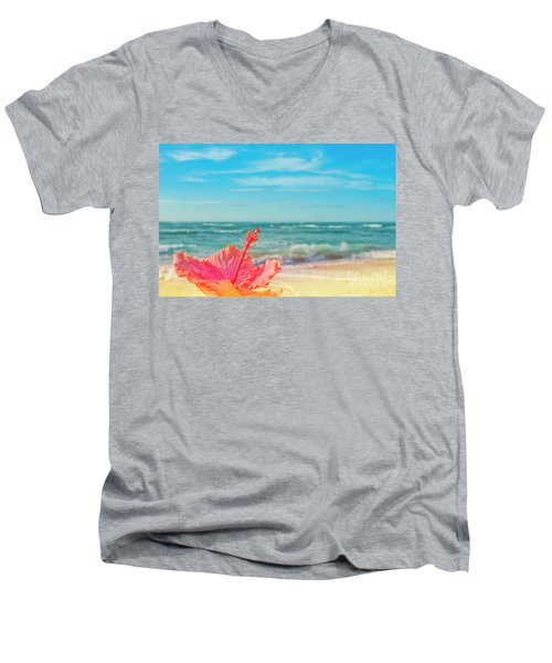 Men's V-Neck T-Shirt featuring the photograph Peace Love And Aloha by Sharon Mau