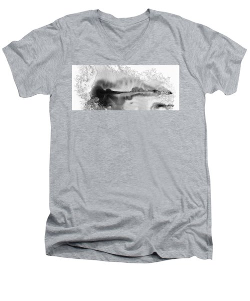 Peaceful Evening - Abstract Ink Rural Landscape Art Men's V-Neck T-Shirt