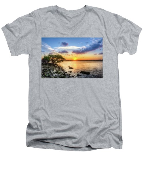 Men's V-Neck T-Shirt featuring the photograph Peaceful Evening On The Waterway by Debra and Dave Vanderlaan
