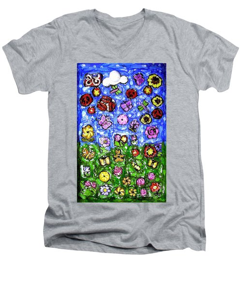 Peaceful Glowing Garden Men's V-Neck T-Shirt