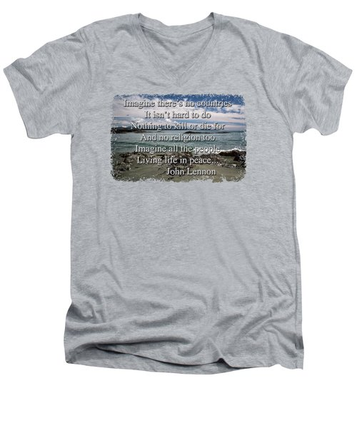 Men's V-Neck T-Shirt featuring the photograph Peaceful Pacific Beach by Richard Farrington