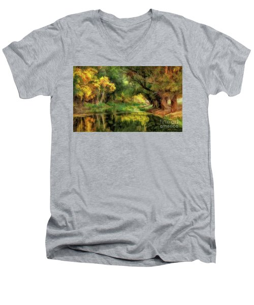 Peaceful Pond In The Trees Men's V-Neck T-Shirt