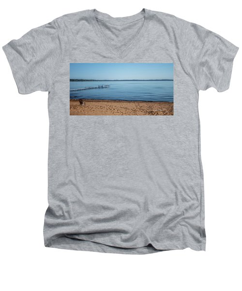 Men's V-Neck T-Shirt featuring the photograph Grand Traverse Bay Beach-michigan  by Joann Copeland-Paul