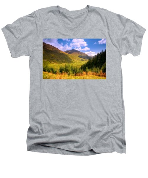 Peaceful Sunny Day In Mountains. Rest And Be Thankful. Scotland Men's V-Neck T-Shirt