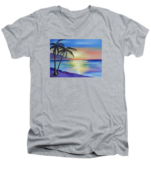 Peaceful Sunset Men's V-Neck T-Shirt by Luis F Rodriguez