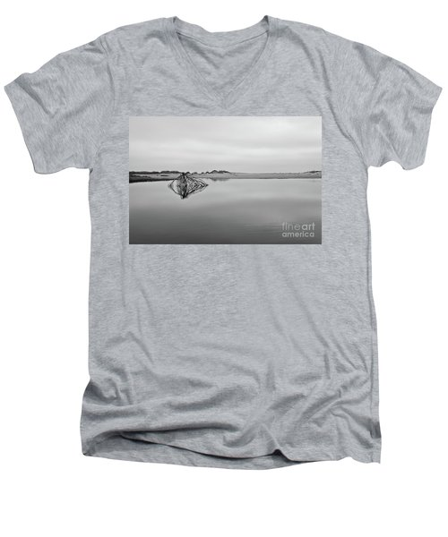 Men's V-Neck T-Shirt featuring the photograph Peaceful Tidepool On The Outer Banks Bw by Dan Carmichael