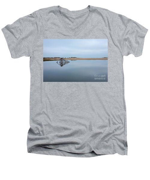 Men's V-Neck T-Shirt featuring the photograph Peaceful Tidepool On The Outer Banks by Dan Carmichael