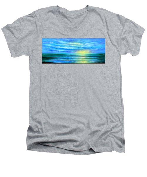 Peacefully Blue - Panoramic Sunset Men's V-Neck T-Shirt
