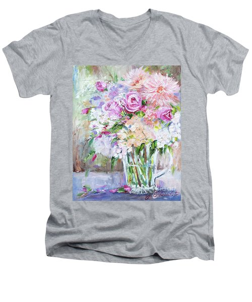 Peach And Pink Bouquet Men's V-Neck T-Shirt