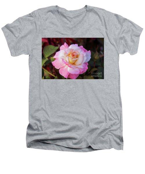 Peach And White Rose Men's V-Neck T-Shirt