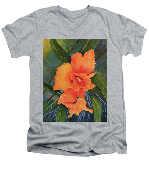 Peach  Blush Orchid Men's V-Neck T-Shirt