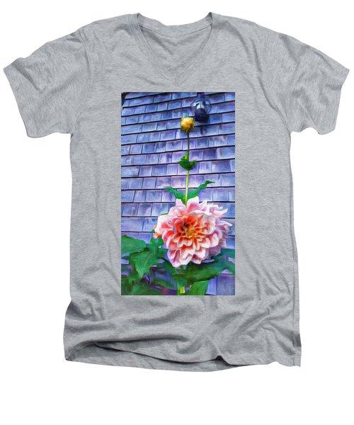 Peach Dahlia In Oil Men's V-Neck T-Shirt
