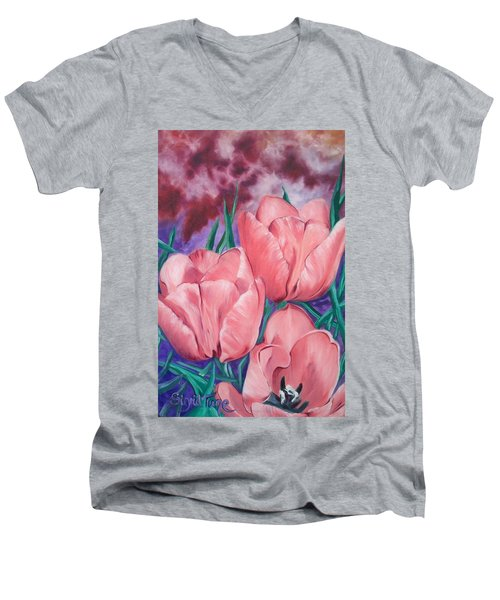 Perennially Perfect  Peach Pink Tulips Men's V-Neck T-Shirt