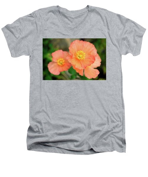 Peach Poppies Men's V-Neck T-Shirt by Sally Weigand