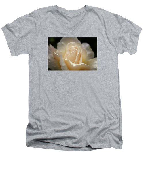 Peach Rose Men's V-Neck T-Shirt by Mary Angelini