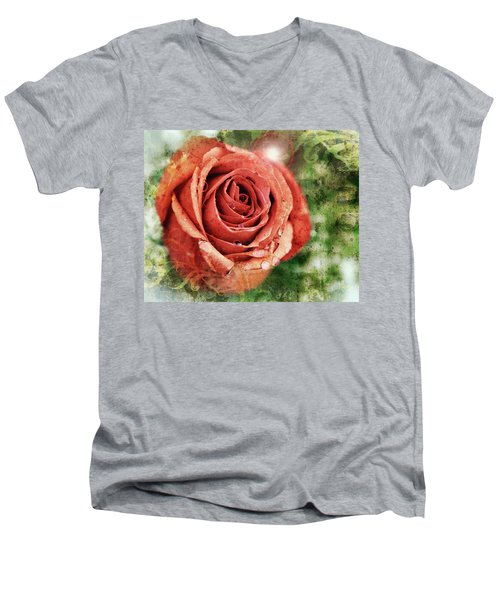 Peach Rose Men's V-Neck T-Shirt