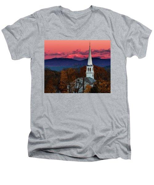 Peacham And White Mtn Sunset Men's V-Neck T-Shirt by Tim Kirchoff
