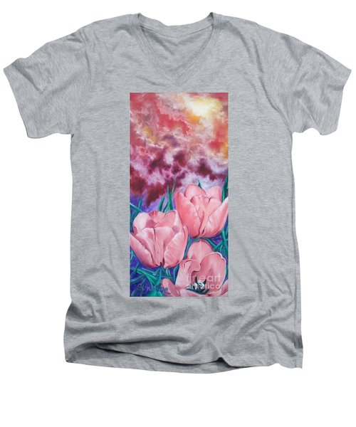 Peachypink Tulips Men's V-Neck T-Shirt