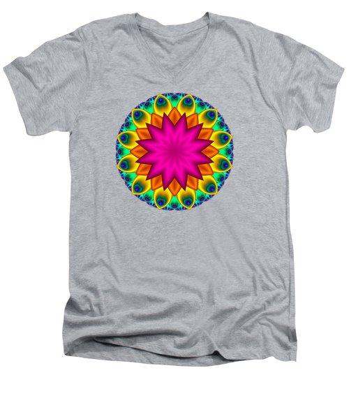 Peacock Fractal Flower I Men's V-Neck T-Shirt