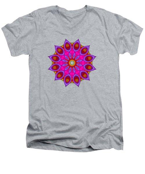 Peacock Fractal Flower II Men's V-Neck T-Shirt