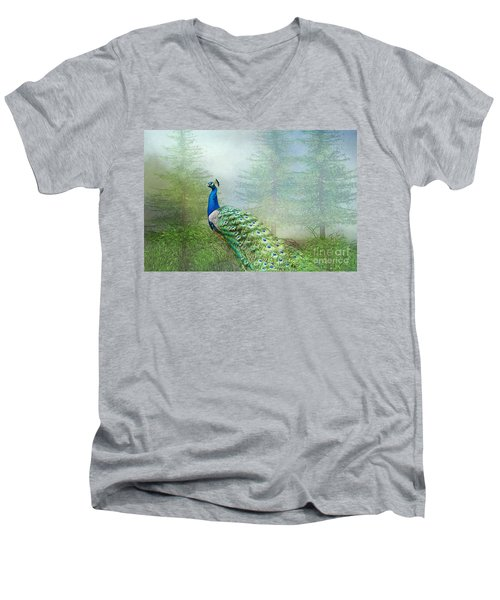 Peacock In The Forest Men's V-Neck T-Shirt by Bonnie Barry