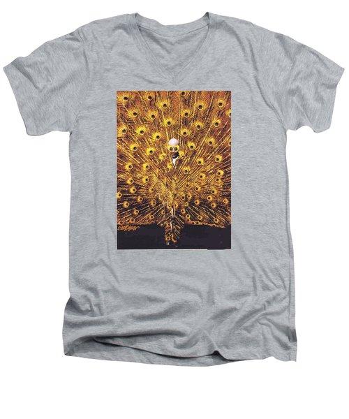 Peacock Man Men's V-Neck T-Shirt by Seth Weaver