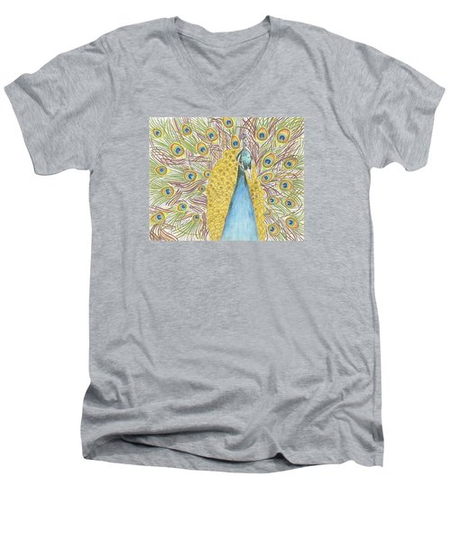 Men's V-Neck T-Shirt featuring the drawing Peacock One by Arlene Crafton