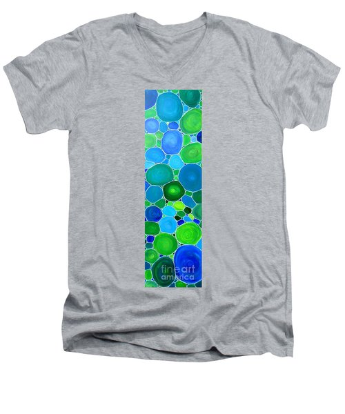 Men's V-Neck T-Shirt featuring the painting Peacock Pebbles  by Karen Jane Jones