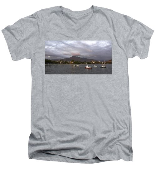 Men's V-Neck T-Shirt featuring the photograph Peaceful by Jim Walls PhotoArtist