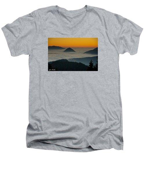 Peaks Above The Fog At Sunset Men's V-Neck T-Shirt by Jeff Goulden