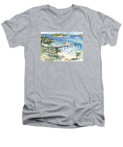 Peanut Island Men's V-Neck T-Shirt