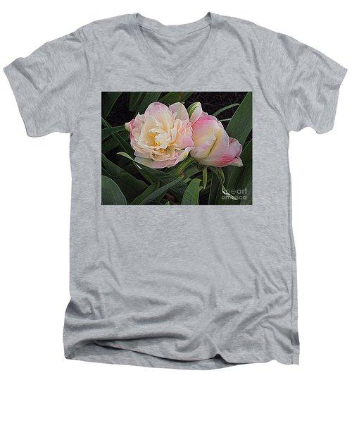 Peony Tulip Duet Men's V-Neck T-Shirt by Nancy Kane Chapman