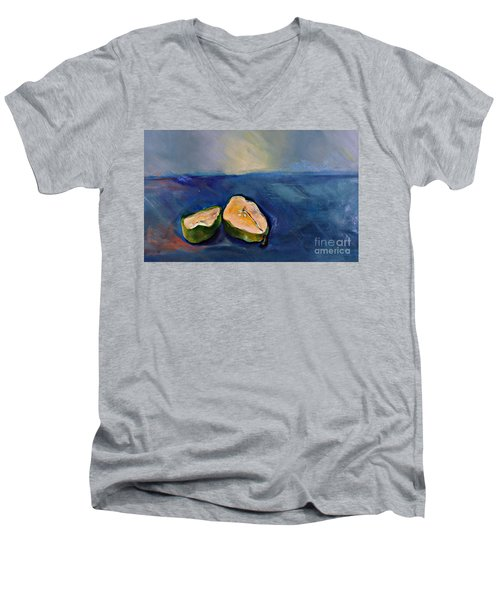 Pear Split Men's V-Neck T-Shirt by Daun Soden-Greene