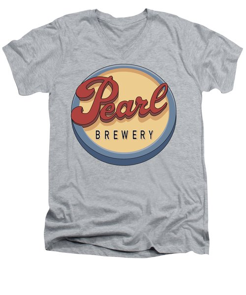 Pearl Brewery Sign Men's V-Neck T-Shirt