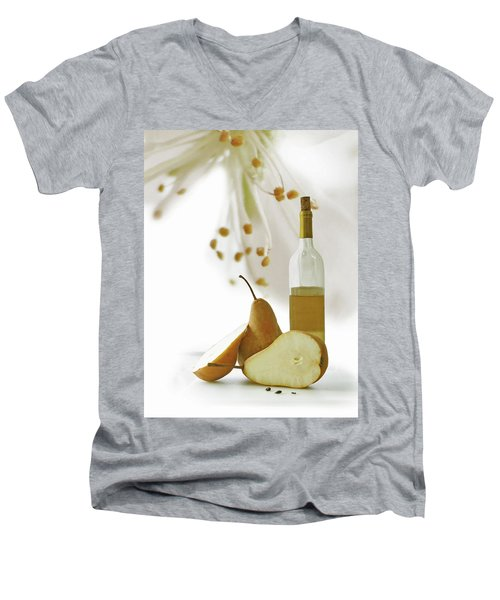 Men's V-Neck T-Shirt featuring the photograph Pears Blossom by Ann Lauwers
