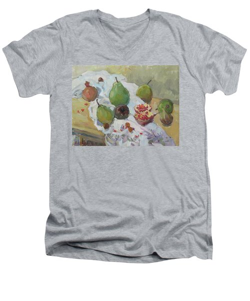 Pears Figs And Young Pomegranates Men's V-Neck T-Shirt