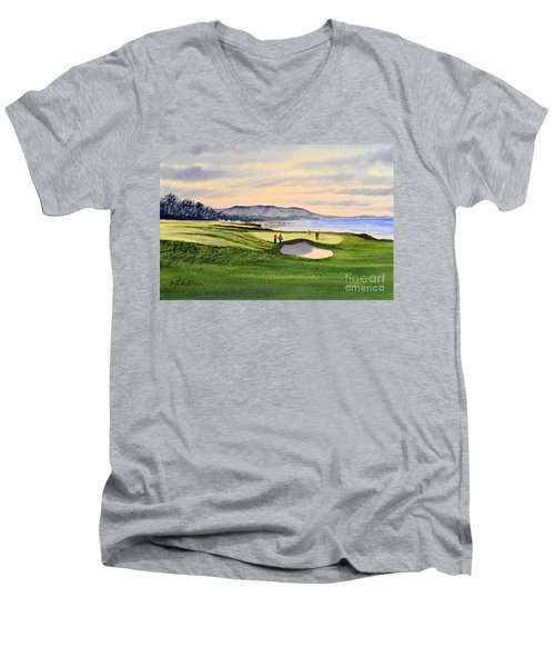Men's V-Neck T-Shirt featuring the painting Pebble Beach Golf Course by Bill Holkham