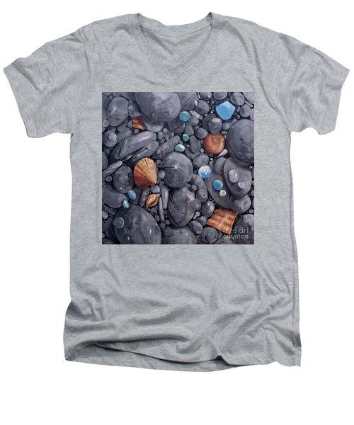Pebble Soft Moments 1 Men's V-Neck T-Shirt by Mary Hubley