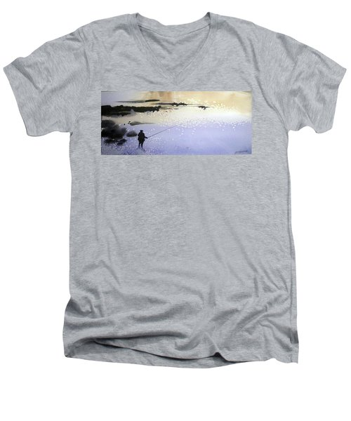 Men's V-Neck T-Shirt featuring the painting Peche by Ed Heaton