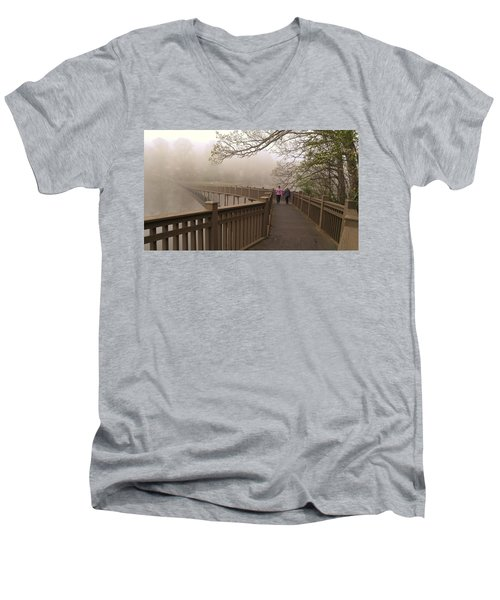 Pedestrian Bridge Early Morning Men's V-Neck T-Shirt