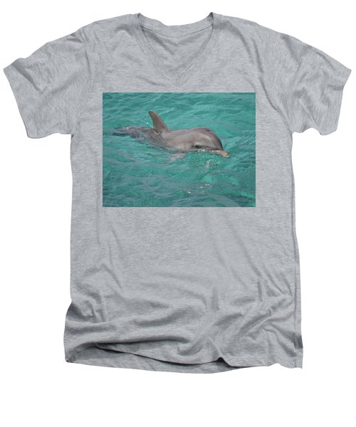Peeking Dolphin Men's V-Neck T-Shirt