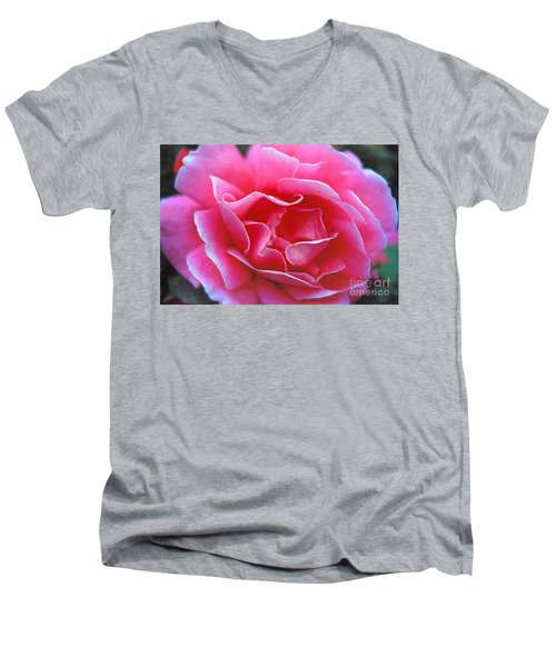 Men's V-Neck T-Shirt featuring the photograph Peggy Lee Rose Bridal Pink by David Zanzinger