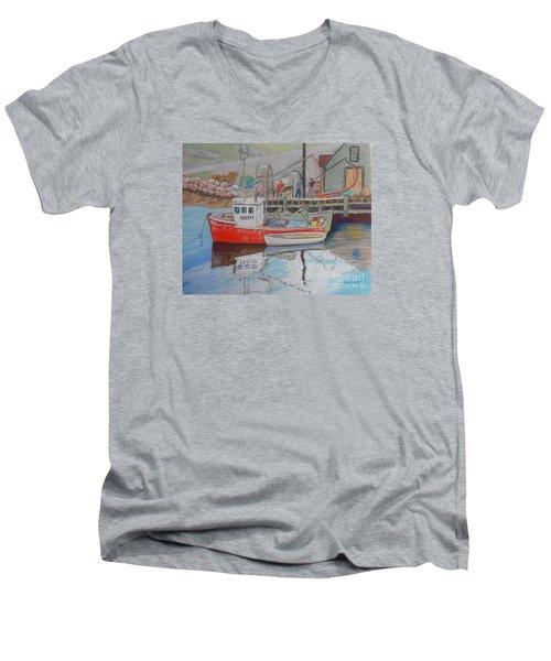 Peggy's Cove  Fishermen Men's V-Neck T-Shirt by Rae  Smith